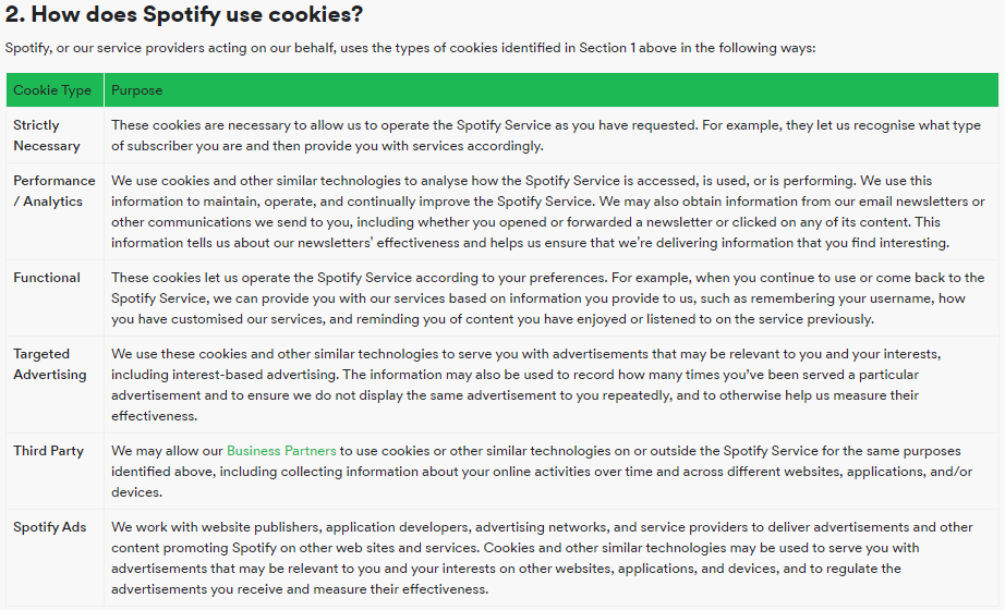 GDPR Compliant Cookie Policy - Spotify