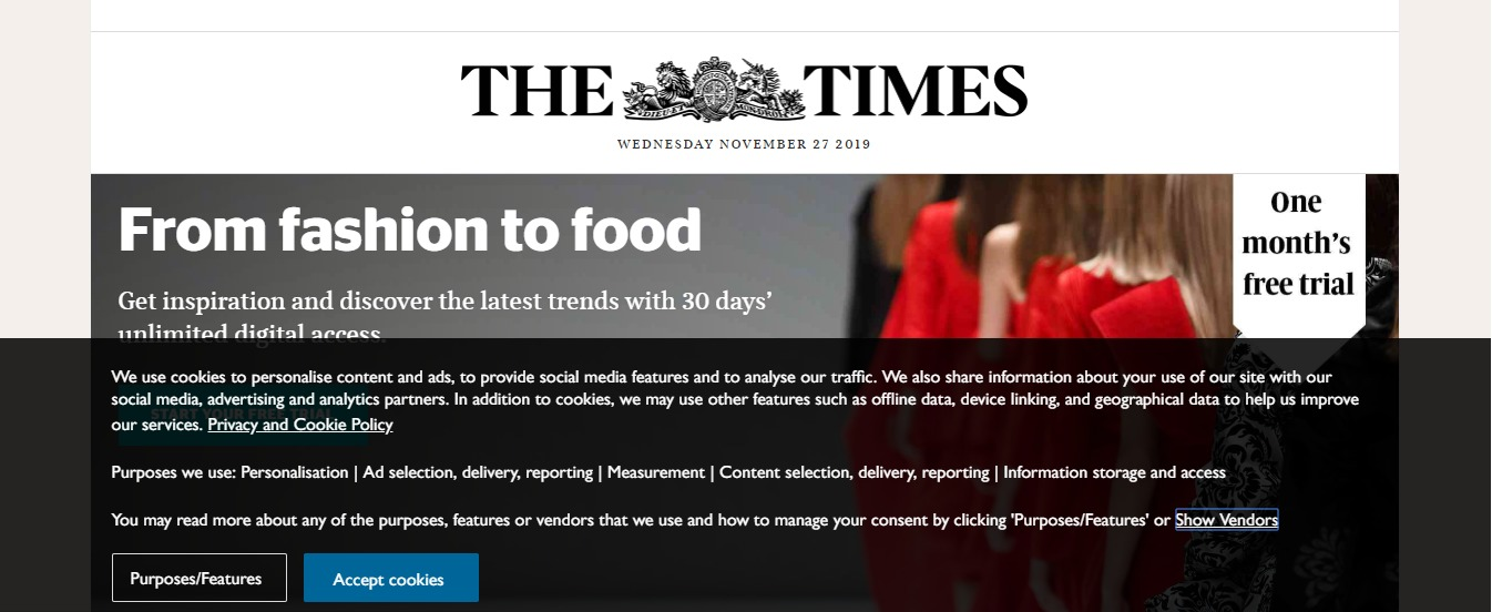 GDPR Cookie Consent - The Times UK