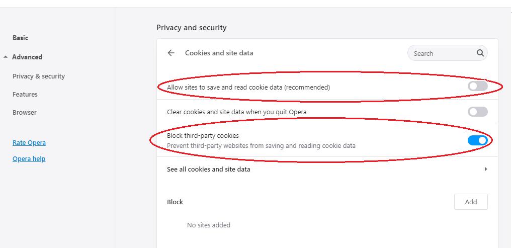 Opera block cookies