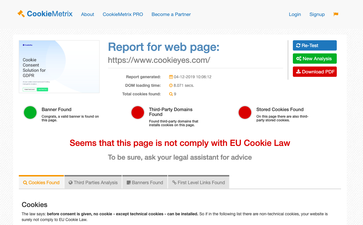 CookieMetrix cookie checker tool