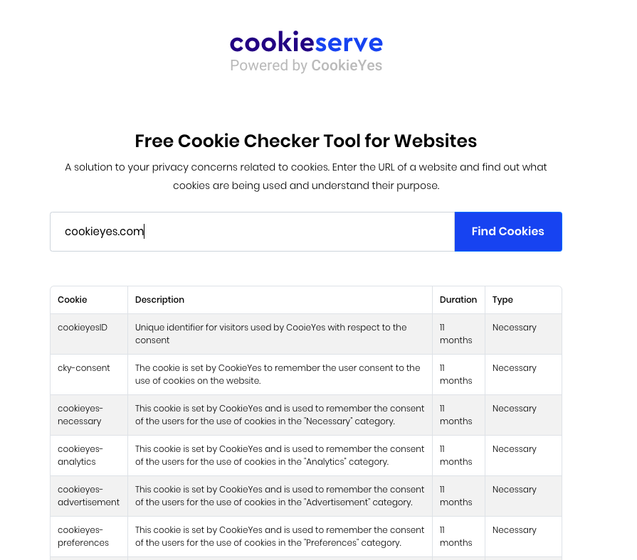 CookieYes cookie checker tool