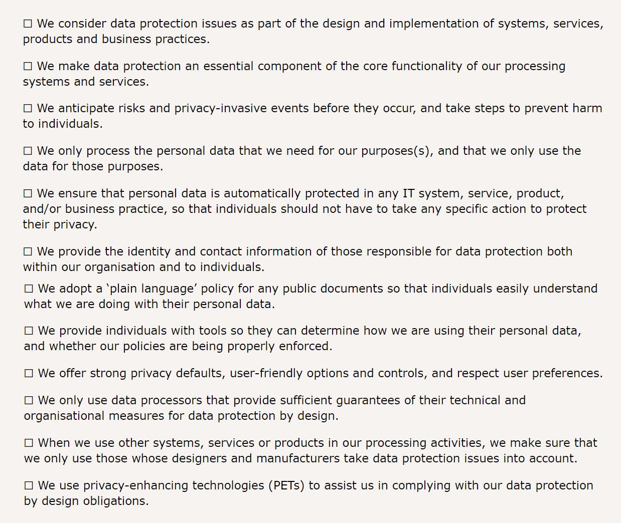 Privacy by Design Checklist by ICO