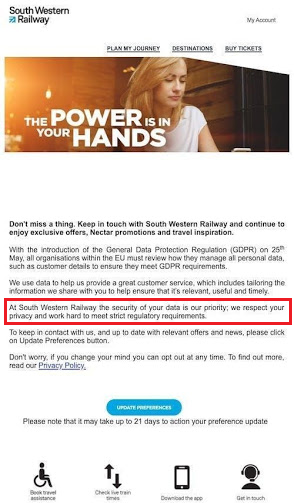 south western railways gdpr email